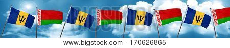 Barbados flag with Belarus flag, 3D rendering