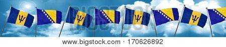Barbados flag with Bosnia and Herzegovina flag, 3D rendering
