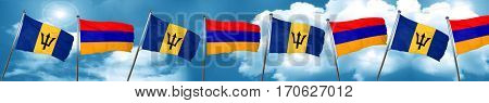 Barbados flag with Armenia flag, 3D rendering