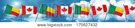 Benin flag with Canada flag, 3D rendering