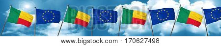 Benin flag with european union flag, 3D rendering