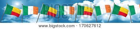 Benin flag with Ireland flag, 3D rendering