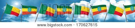 Benin flag with Ethiopia flag, 3D rendering