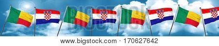 Benin flag with Croatia flag, 3D rendering
