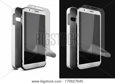 3d Illustration of Phone protection film on screen and cover. Smartphone display with protector glass. Isolated on black and wite.