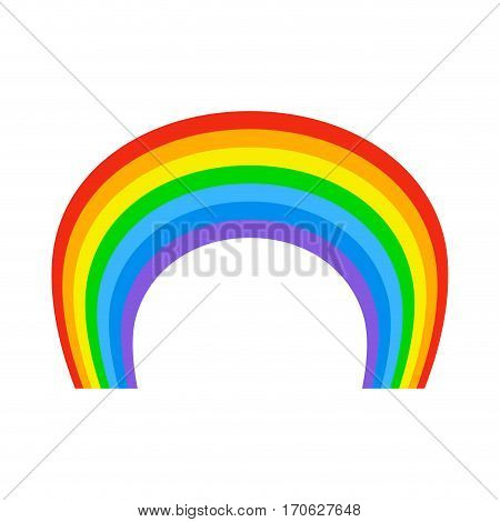 Rainbow Isolated. Natural Colored Arc On White Background