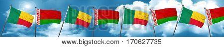 Benin flag with Belarus flag, 3D rendering