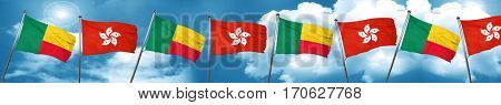 Benin flag with Hong Kong flag, 3D rendering