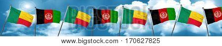 Benin flag with afghanistan flag, 3D rendering