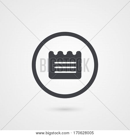 Business note grey symbol. Isolated circle logo. Vector illustration