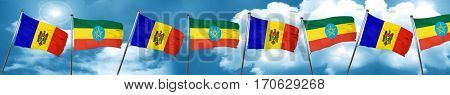 Moldova flag with Ethiopia flag, 3D rendering