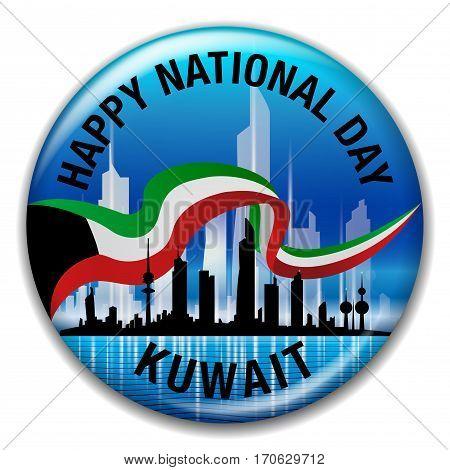 Happy National Day Kuwait Blue Round Pin Badge