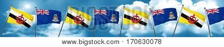 Brunei flag with Cayman islands flag, 3D rendering