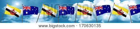 Brunei flag with Australia flag, 3D rendering