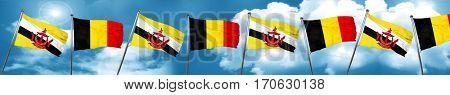 Brunei flag with Belgium flag, 3D rendering