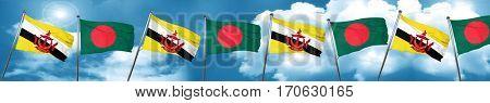 Brunei flag with Bangladesh flag, 3D rendering