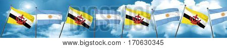 Brunei flag with Argentine flag, 3D rendering