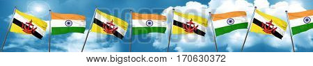 Brunei flag with India flag, 3D rendering