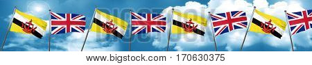 Brunei flag with Great Britain flag, 3D rendering
