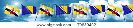 Brunei flag with Bosnia and Herzegovina flag, 3D rendering