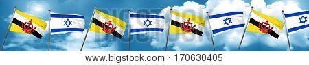 Brunei flag with Israel flag, 3D rendering