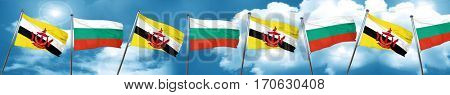 Brunei flag with Bulgaria flag, 3D rendering
