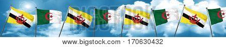 Brunei flag with Algeria flag, 3D rendering