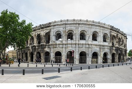 NIMES FRANCE - MAY 04 2015: Ancient Roman Theater (Arena) of Nimes. Nimes is a famous and very popular among tourists city in Provence in south of France