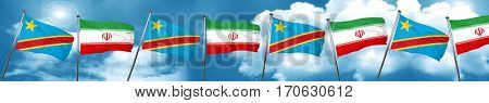 Democratic republic of the congo flag with Iran flag, 3D renderi