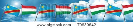 Democratic republic of the congo flag with Hungary flag, 3D rend