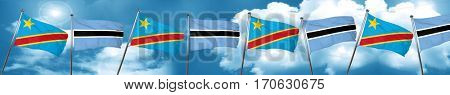 Democratic republic of the congo flag with Botswana flag, 3D ren