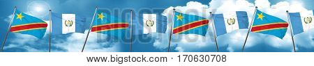 Democratic republic of the congo flag with Guatemala flag, 3D re
