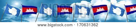 antarctica flag with Cambodia flag, 3D rendering