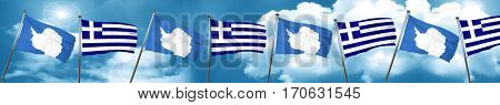 antarctica flag with Greece flag, 3D rendering
