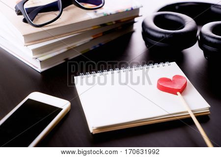 Love Valetines music songwriting book with headphone