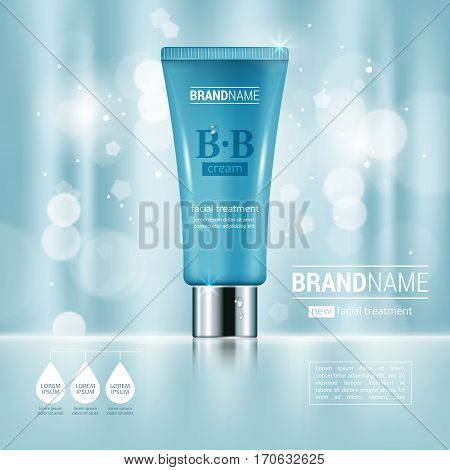 Facial Cream Tube Container Realistic Vector Illustration Isolated On Blue Bokeh Background. Cosmeti