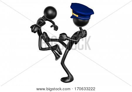 The Original 3D Character Illustration Police Officer Kicking Another