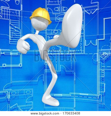 The Original 3D Character Illustration Construction Worker Kicking