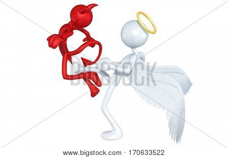 Angel Kicking A Devil The Original 3D Characters Illustration