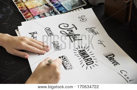 Woman Drawing Illustration Pad Paper Palette Font Design Words