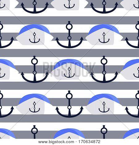 Sea Anchor And Cap. Children S Illustration