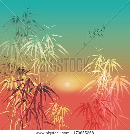 Tropical Bamboo trees in moonlight vector illustration