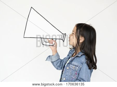 A girl megaphone announcement loud voice
