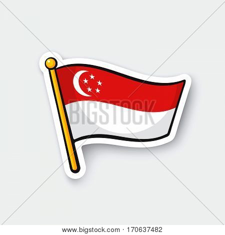 Vector illustration. Flag of Singapore on flagstaff. Location symbol for travelers. Cartoon sticker with contour. Decoration for greeting cards posters patches prints for clothes emblems