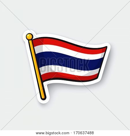 Vector illustration. Flag of Thailand on flagstaff. Location symbol for travelers. Cartoon sticker with contour. Decoration for greeting cards posters patches prints for clothes emblems