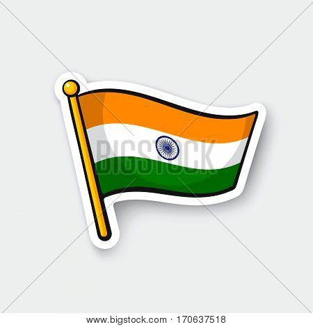 Vector illustration. Flag of India on flagstaff. Location symbol for travelers. Cartoon sticker with contour. Decoration for greeting cards posters patches prints for clothes emblems