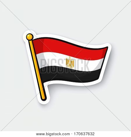 Vector illustration. Flag of Egypt on flagstaff. Location symbol for travelers. Cartoon sticker with contour. Decoration for greeting cards posters patches prints for clothes emblems