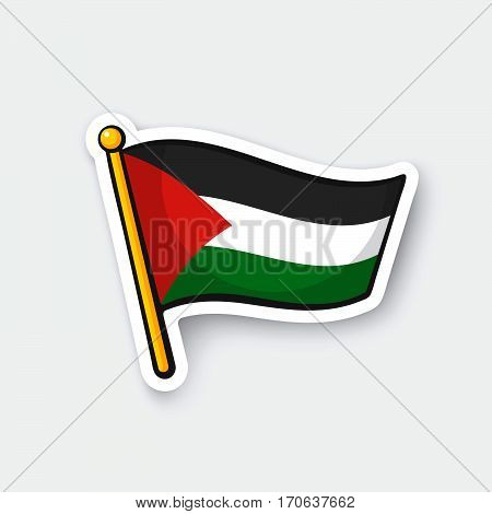 Vector illustration. Palestinian flag on flagstaff. Location symbol for travelers. Cartoon sticker with contour. Decoration for greeting cards posters patches prints for clothes emblems