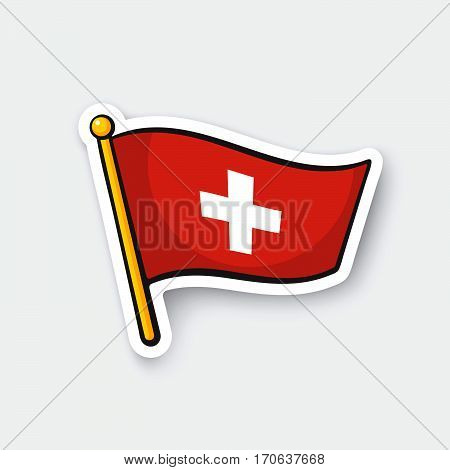 Vector illustration. Flag of Switzerland on flagstaff. Location symbol for travelers. Cartoon sticker with contour. Decoration for greeting cards posters patches prints for clothes emblems