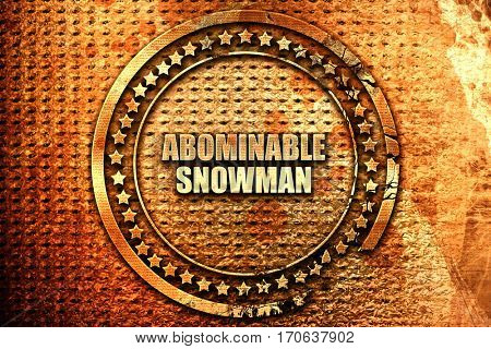 abominable snowman, 3D rendering, text on metal
